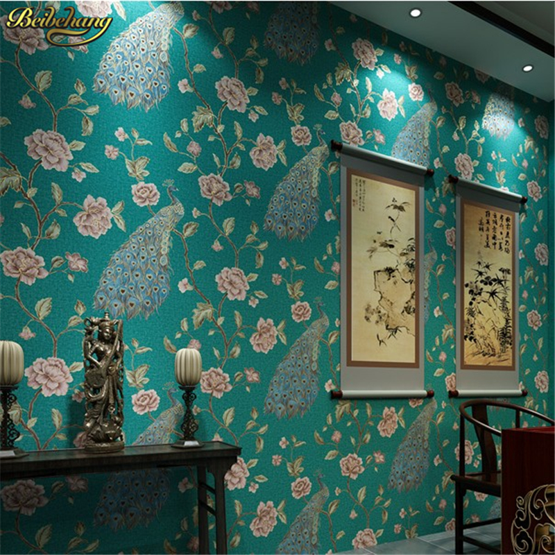 beibehang papel parede papel mural Luxury Peacock Embroidery Wallpaper roll Floral Birds 3D Papel de Parede Eco wall paper roll<br>