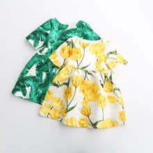 Retail 2016 summer Brand Girls Dresses Princess Costume Green&White Tropical Print Jewels Kids Dresses for Girls Clothes