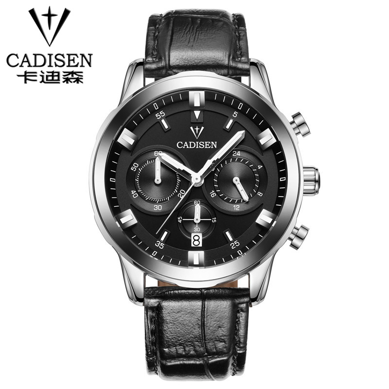 CADISEN fashion casual military chronograph quartz watch men luxury waterproof analog leather wrist watch man free shipping<br>