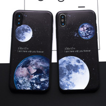 Forever Lover For Man Woman Moon Earth Distance Soft Silicon Case For iphone 7 8 Plus X 6 6s Plus 5s SE Cover Phone Funda Coque(China)