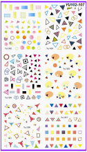 6 PACK/ LOT WATER DECAL NAIL ART NAIL TRANSFER STICKER TRIANGLE SQUARE DIAMOND GEOMETRY YU102-107