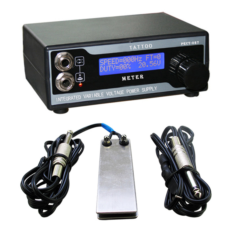 Hot Sale Tattoo Power Supply Kit Tattoo Power Supply LCD Digital + Stianless Steel Tattoo Foot Pedal Switch + Clip Cord<br>