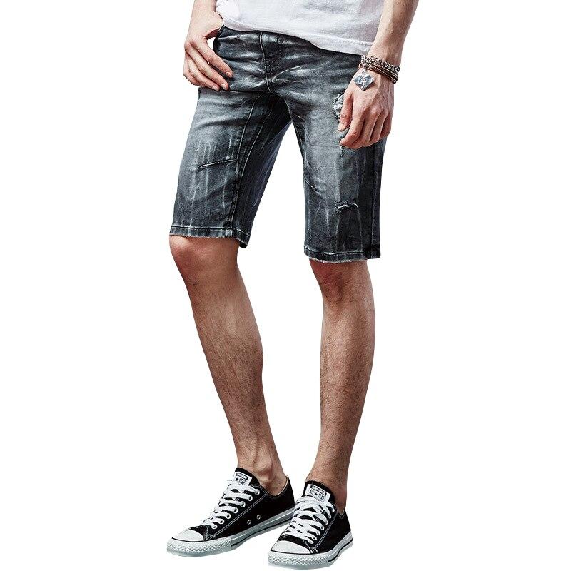2017 Summer Mens JeansFashion Knee Length Straight Hole Denim Shorts Cotton Stretch Mens ShortsОдежда и ак�е��уары<br><br><br>Aliexpress