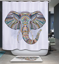 Mandala India Elephant Pattern Polyester Waterproof Shower Curtain 12pc Hooks Mildew Resistant Bath Curtain Home Bathroom Decor(China)