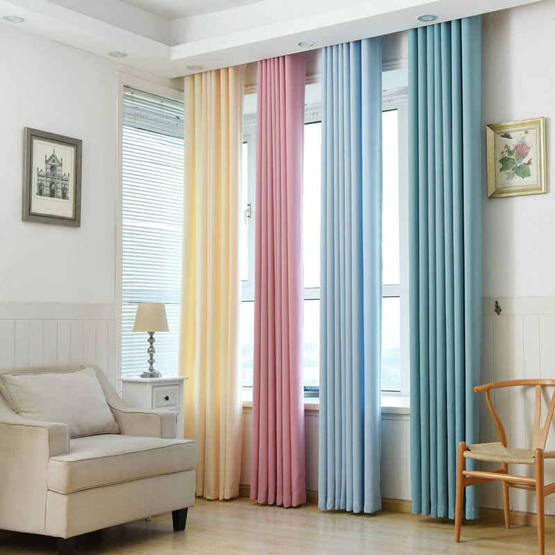 Faux LinenFabric Solid Curtains For Living Room/Bedroom Colorful with Purple/Green/Blue/Beige/Pink Window Kitchen Curtain Blinds