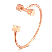 Hot selling Dumbbells With Cube Design Women's Open Bangle  Wedding Bridesmaids Bracelet Jewelry Gift GH824