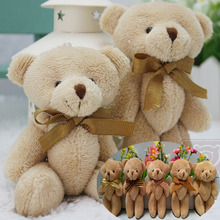T108 Free shipping 24pcs/lot Promotion 12CM bow tie brown teddy bear mini joint plush bear bouquet toy/phone pendant