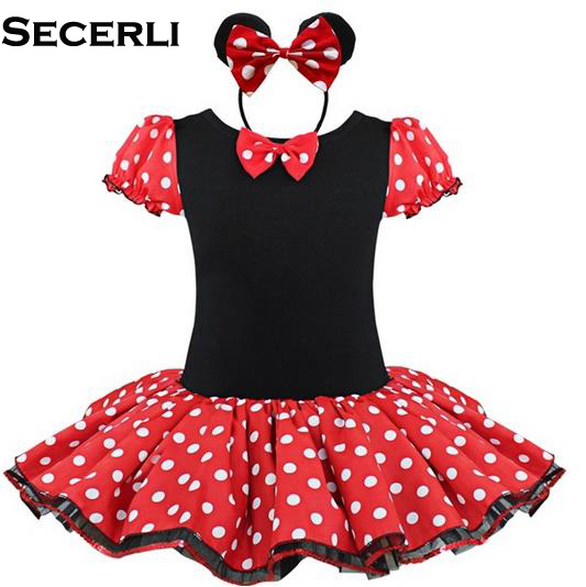 2017 New Minnie Mouse Kids Girls Party Dress Fancy Costume Ballet Girls Tutu Dress+Ear Hair Clip 2 4 6 7 8 Years Girls Dress<br><br>Aliexpress