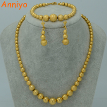 Anniyo Bead Necklace Earrings Bracelet set Jewelry Ball For Women Gold Color Africa/Arab/Middle East/Ethiopian #006302