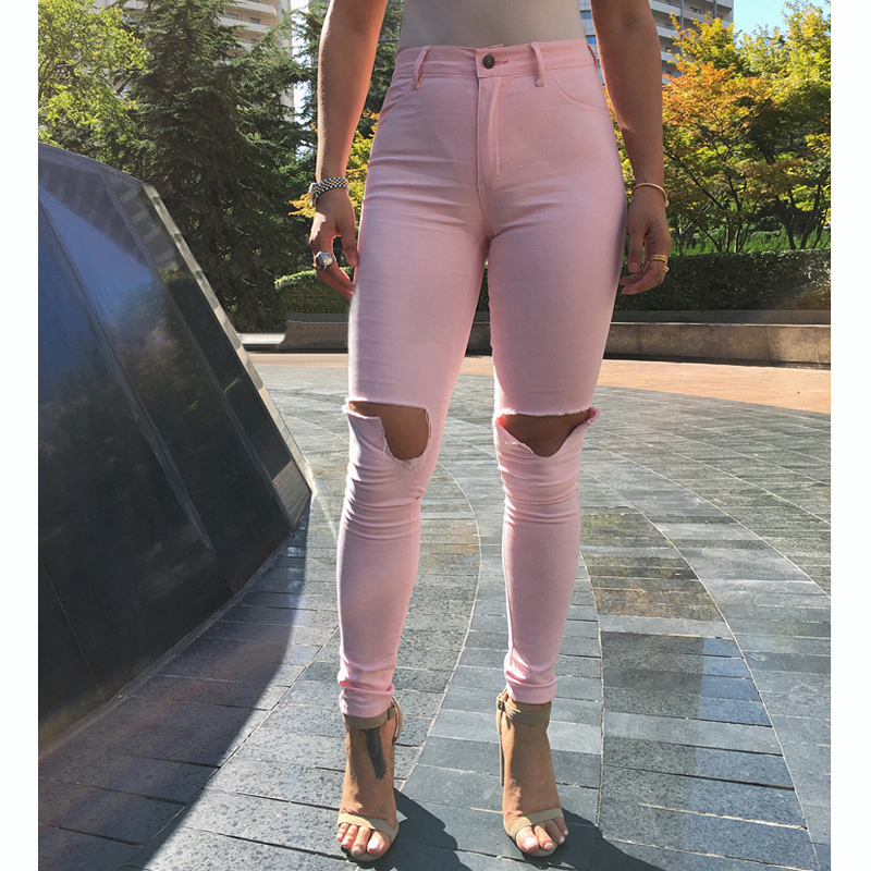 Good Quality Fashion High Waist Skinny Jeans Femme Stretch Pink/White/Black Pants Denim With Pockets Ripped Jeans WomenÎäåæäà è àêñåññóàðû<br><br>