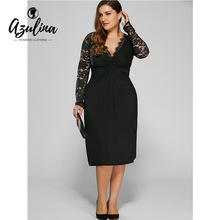 Buy AZULINA Sexy Winter Dress Plus Size Club Party Bodycon Dress Twist Front Lace Sleeves Robe Vestidos Mujer XL-5XL Women Dresses for $13.53 in AliExpress store