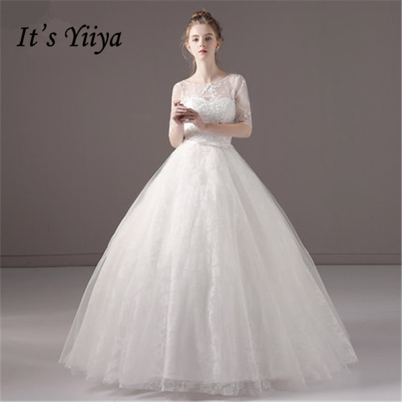 It's YiiYa New O-neck Floor-length Wedding Dresses Backless Lace Brides Gowns Vestidos Deovia Casamento BL025