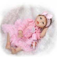 Buy 22inch silicone vinyl real soft touch reborn baby 55CM realistic reborn baby doll children playing toys Christmas sweet baby