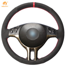 Mewant Black Suede Red Marker Car Steering Wheel Cover for BMW E39 E46 325i E53 X5