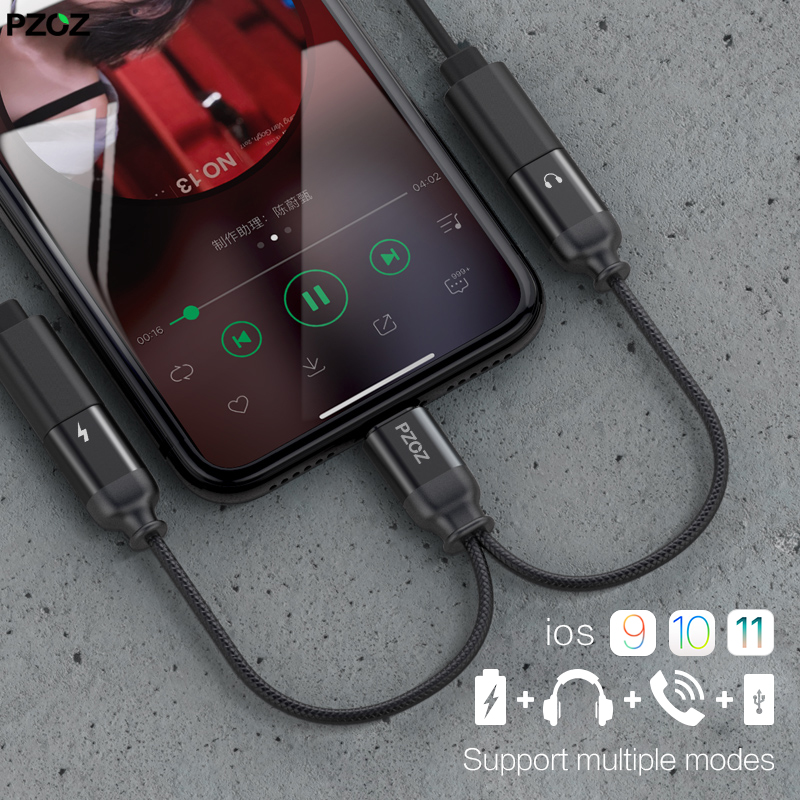 PZOZ Lighting adapter charger audio cable 2 1 charging earphone jack iphone X 7 8 plus headphone music aux converter
