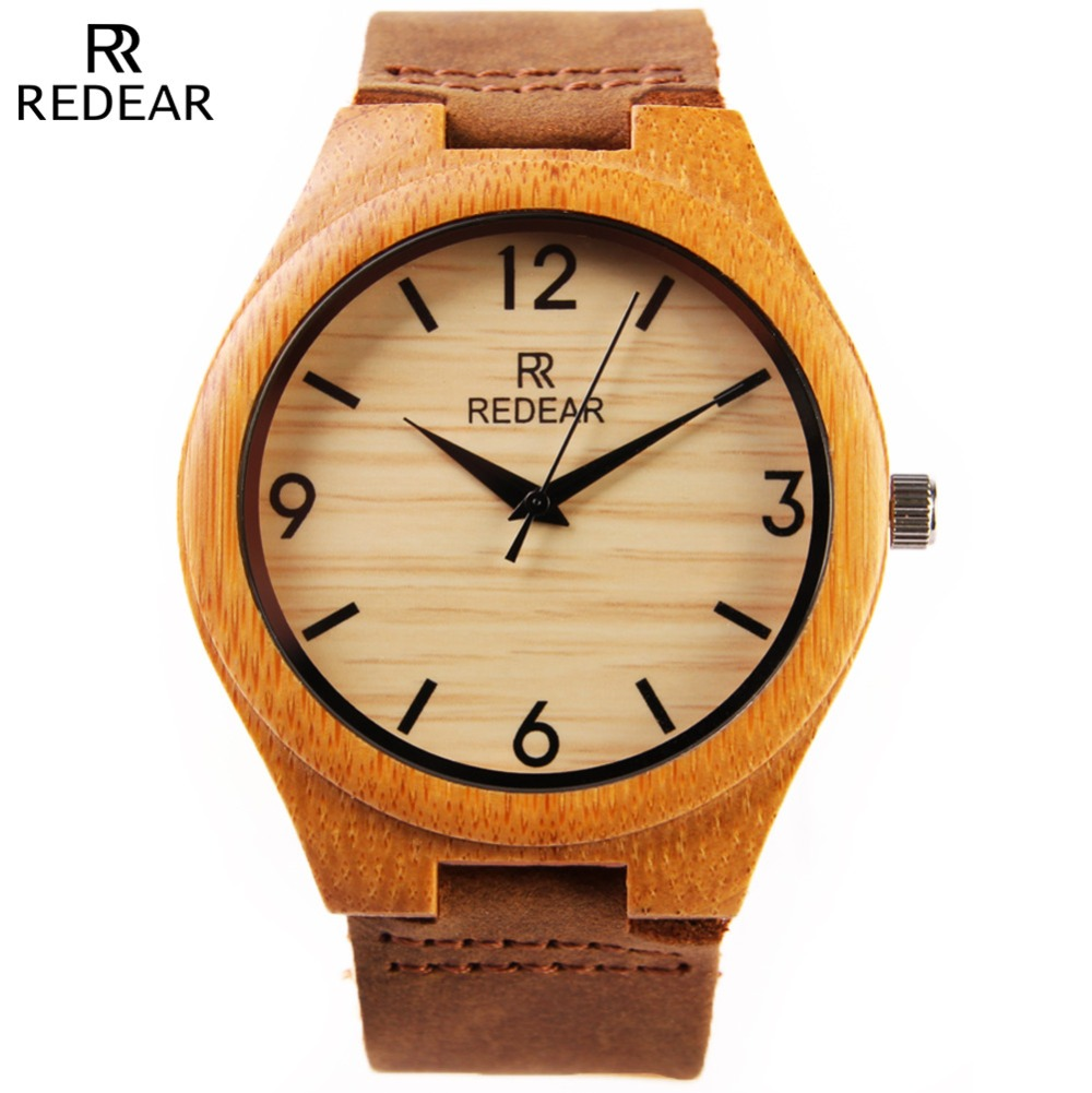 Fashion Popular Men Bamboo Watch Genuine Leather Quartz Watch Luxury Wooden Watches High-Quality Clock REDEAR Relogio Masculino<br><br>Aliexpress