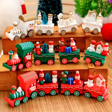 Red Lovely Mini Train Wood Craft Four Section Green White Christmas Gift Toys for Child New Year(China)