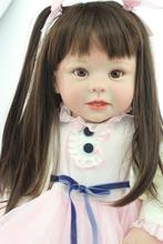 Large size 70CM  silicone reborn toddlers baby dolls lovely long hair princess girl dolls best children gift