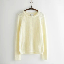 2017 Spring Women Mixed Color Sweater O-Neck Long Sleeve Fashion Dress Wool  Loose Knitted Pullover Jumper SW041