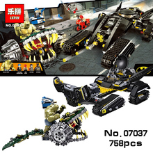 LEPIN 768PCS Super Heroes DC Batman Tumbler Killer Croc Sewer Smash Building Blocks Figures Avengers Compatible 76055