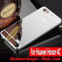 Luxury For Huawei Honor 4C Case c8818D Cover Mirror Aluminum Bumper Metal Acrylic Back Cover For Huawei G Play Mini  Phone Cases