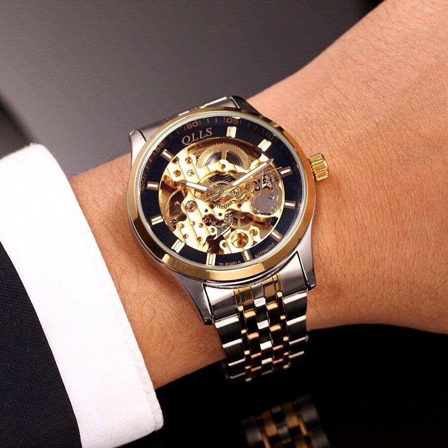 2017 QLLS Brand Skeleton Tourbillon Mechanical Watch Automatic Men Classic Gold steel Mechanical Wrist Watches Reloj Hombre<br>