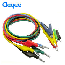 Cleqee P1037 1Set 5Pcs 1M 4mm Silicone Banana Plug to Crocodile Alligator Clip Test Probe Lead Wire Test Cable