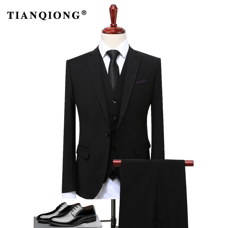Aliexpress Buy TIAN QIONG Groom Suit Wedding Suits For Men 2017 Mens Solid Black Tuxedos Casual Tuxedo Male S 4XL From