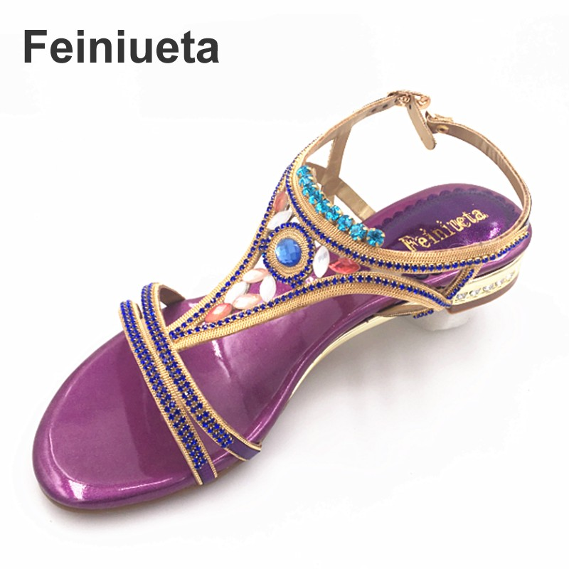 Feiniueta  new Bohemian high special crystal diamond sandals female summer leather non-slip flat sand beach shoes women sandals<br>