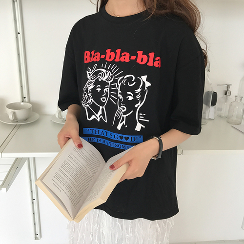 Character Printed Letter  Simple All Match Fashion 2018 New Spring Short Sleeve Female Cute College Wind Tees