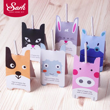 40pcs/lot Cartoon Animal Dog Cat Hippo Pig Candy Lollipop Decoration Gift Card Birthday Party For Kids Wedding Decor