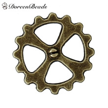 "DoreenBeads Zinc Based Alloy Steampunk Embellishments Findings Gear Antique Bronze Cross Carved Hollow 14mm( 4/8""), 100 PCs(China)"