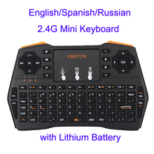 Mini Handheld Keyboard 2.4G Wireless English/Spanish/Russian Touchpad Mouse Gaming Keyboards for Laptop PC Smart TV Android TV(China)