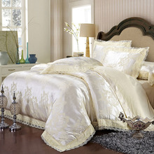 Quality Luxury 4Pcs Tencel Silk Cotton Jacquard European Style Full/Queen/King Size Bed Quilt/Doona/Duvet Cover Set Lace White