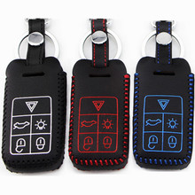 FLYBETTER Car Genuine Leather Remote Control Car Keychain Key Cover Case For Volvo XC60/S60 5Buttons Smart Key L804(China)