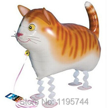 10pcs/Lot, Free Shipping, Wholesale,Cat Pet Walking Animals Balloons  Helium Mylar Balloons, Baby's toy, Party Decoration. .