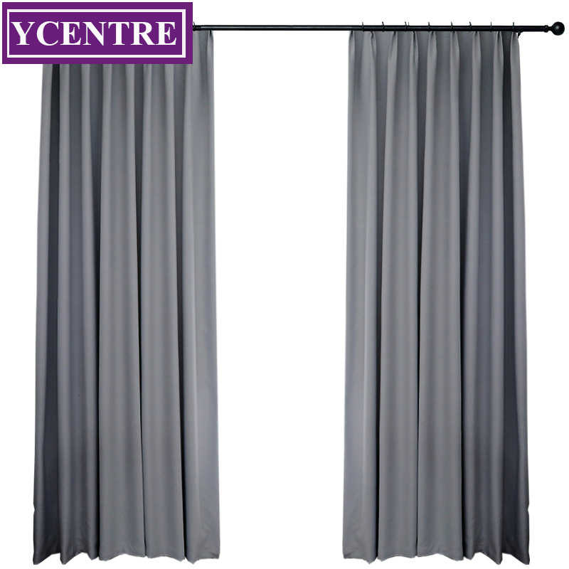 YCENTRE Darkening Solid Thermal Insulated Blackout Curtains Soundproof Window Grey Drape Blinds Panel for Bedroom Living Room