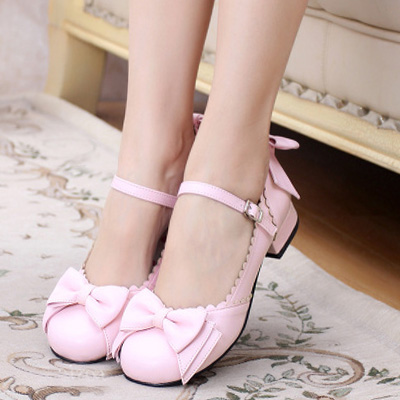 Low Heel Lolita Shoes Bow Heels New 2017 Buckle Strap Women Pumps Thick Heel Japanese Style Cos Shoes<br>