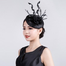 2016 Hot Selling Royal Party Dinner Women Fascinators Sinamay Hair Clip Accesories Wedding Fascinator Feather Flower Headwear(China)