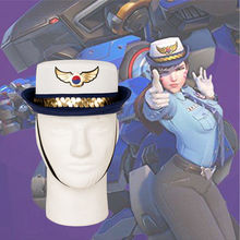Takerlama Game OW D.va DVA Cosplay Officer Hat Hana Song Women Police Uniform Cap Female Duty Headgear Costume Accessories(China)