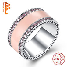 BELAWANG Radiant Hearts of Brand Rings Original 925 Sterling-Silver-Jewelry Clear CZ Enamel Rings For Women Fashion Jewelry Gift(China)