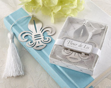 10pcs/lot Back to school gifts Fleur-de-Lis Metal Bookmark Unique Party Favors Chrome Bookmark For Guest Free shipping(China)