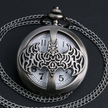 2016 New Arrival High Quality Dark Gray Steampunk Titanium Steel Batman Pocket Watch Necklace Mens/Womens jewelry Promoations(China)