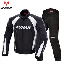 DUHAN Men's Motorcycle Jacket Windproof Riding Touring Jacket Racing Sports Jacket and Pants Clothing With Five Protector Guards(China)