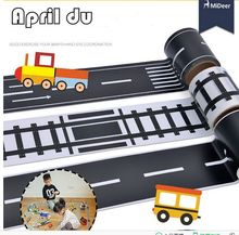MiDeer sticker road signs 4 styles traffic road railway/motoway/road/curve pathway for kids play toy car