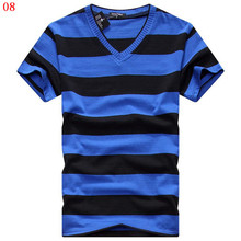Buy Alishebuy 2017 Male V-neck T-shirt Men's Short Sleeve Tshirt Man Cotton Striped T Shirts Mens Clothing Multi Size for $6.29 in AliExpress store