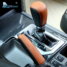 Airspeed Real Leather Car Gearshift Cover Handbrake Covers Protection for Toyota Prado 2010 2012 2013 2014 Land Cruiser Prado AT