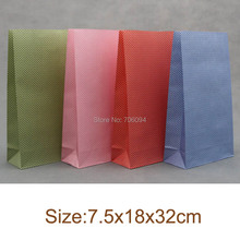 50pcs 7.5x18x32cm Colorful polka dots gift paper bag party favor bag paper pouch for toy clothes Wholesale