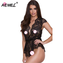 ADEWEL Sexy Black Cap Sleeve Women Lace Bodysuit Ladies Deep V Neck Eyelash Lace Gathered Waistband Romper Overall Body Feminino(China)