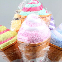 1PCS Cute Portable Ice Cream Shaped Towel Double color Soft Washing Towel baby gift Free Shipping